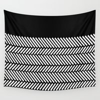 herringbone Wall Tapestries featuring Herringbone Boarder by Project M