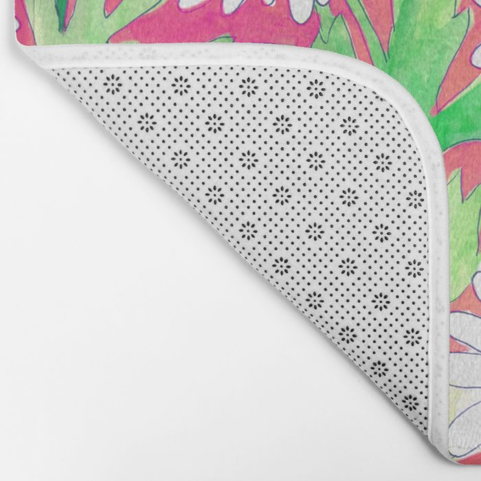 Sketchbook Daisies Coral Bath Mat
