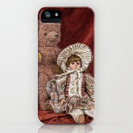Memories of Childhood Teddy Bear and Doll iPhone Case