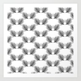 Modern botanical black white pine tree leaves pattern Art Print
