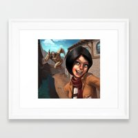 mikasa Framed Art Prints featuring Mikasa Takes a Selfie! by Misterstrum