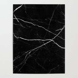 Black marble abstract texture pattern Poster
