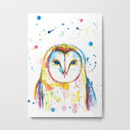 Barn Owl - Watercolor Painting Metal Print