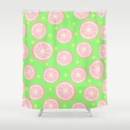 Pink Grapefruit and Dots - Green Shower Curtain