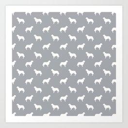 Golden Retriever dog silhouette grey and white minimal basic dog lover pattern Art Print