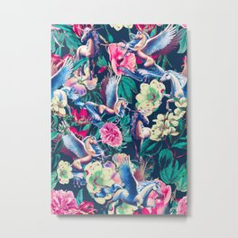 Unicorn and Floral Pattern Metal Print