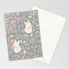 Sleeping Fox - grey Stationery Cards