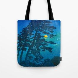 Vintage Japanese Woodblock Print Kawase Hasui Haunting Tree Silhouette At Night Moonlight Tote Bag