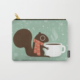 Cute Squirrel Coffee Lover Winter Holiday Carry-All Pouch
