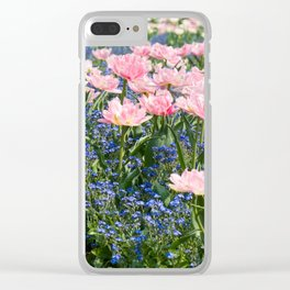 Foxtrot tulips blooming in garden Clear iPhone Case