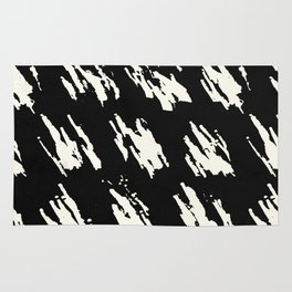 Modern Paint Ivory on Black Rug