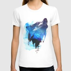 Alone as a wolf X-LARGE White Womens Fitted Tee