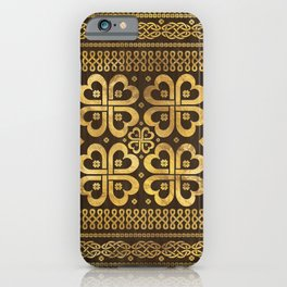 Shamrock Four-leaf Clover Wood and Gold iPhone Case