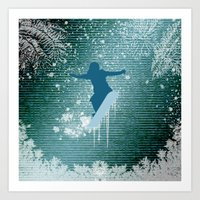 snowboarding Art Prints featuring Snowboarding by nicky2342