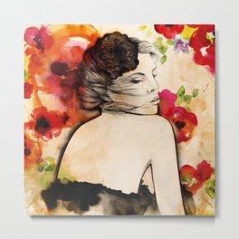 Lucy in flower fields Metal Print
