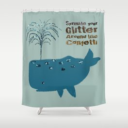 Glitter Whale Shower Curtain