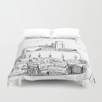castle Duvet Covers featuring Castle by Mr.Willow