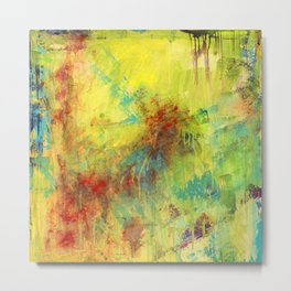 Summer Blossom, Yellow abstract print Metal Print