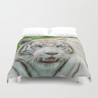 tigers Duvet Covers featuring THE BEAUTY OF WHITE TIGERS by Catspaws