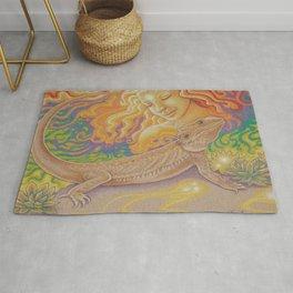 Sun And Dragon, Bearded Dragon Art Rug