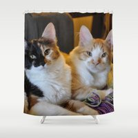 whisky Shower Curtains featuring Whisky and Gypsy - Rescued by talonJstudios