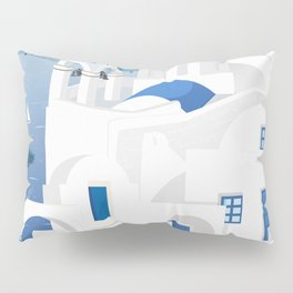 Vintage Santorini poster Pillow Sham