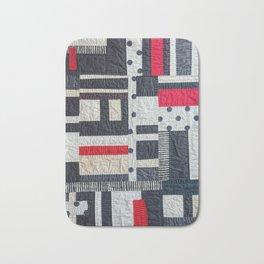 Black, White and Red 'Antique-Look' Art Quilt Design Bath Mat