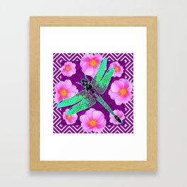 Decorative Nouveau Aqua Dragonfly Pink Roses Framed Art Print