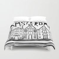 amsterdam Duvet Covers featuring Amsterdam by Heather Dutton