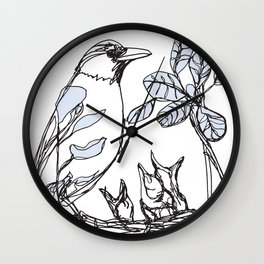 Robin's Nest (a one-line drawing) Wall Clock