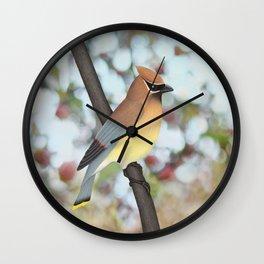 cedar waxwing - bokeh Wall Clock