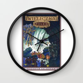 Wieliczka, Poland, vintage travel poster Wall Clock