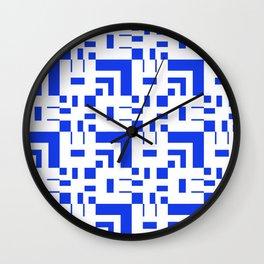 Blue Pixel Plaid Grid Wall Clock