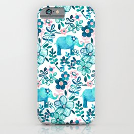 Dusty Pink, White and Teal Elephant and Floral Watercolor Pattern iPhone Case