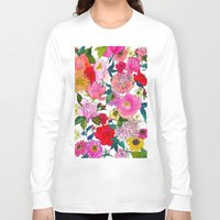 peonies Long Sleeve T-shirts featuring Peonies & Roses by Marcella Wylie
