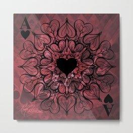 Ace of Hearts Mandala Metal Print