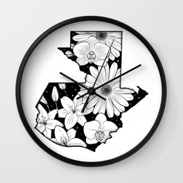 Map of Guatemala with flowers and stars Wall Clock