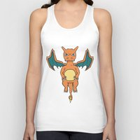 charizard Tank Tops featuring Charizard Character Art Graphic Design by Jorden Tually Art