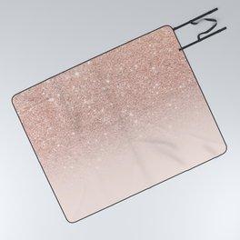 Rose gold faux glitter pink ombre color block Picnic Blanket