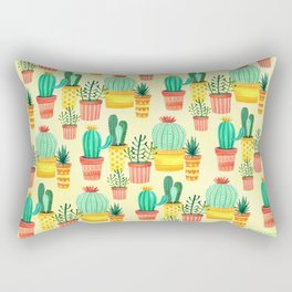 Hello! Colorful Watercolor Cactus and Succulent in Patterned Planters Rectangular Pillow