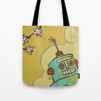 robot Tote Bags featuring Robot by Willow Dawson