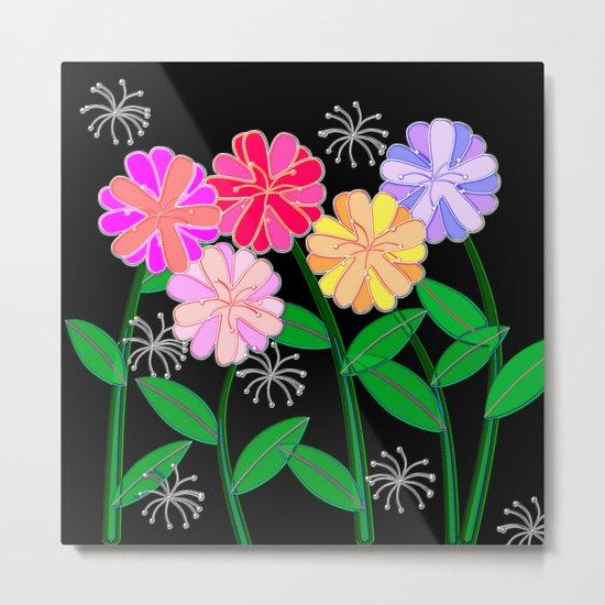 Plasticine Flowers with Dandelion Seed Metal Print