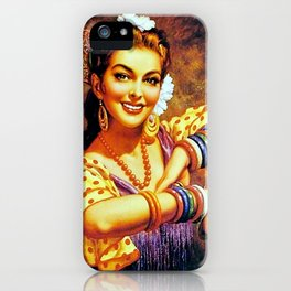 Jesus Helguera Painting of a Mexican Calendar Girl with Bangles iPhone Case