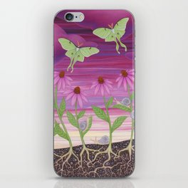 echinacea daydream with luna moths and snails iPhone Skin