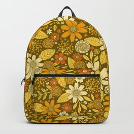 1970s Retro Flowers Pattern in Yellow, Orange & Olive Green Backpack