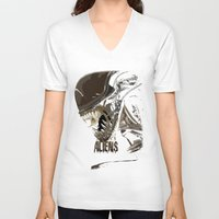 aliens V-neck T-shirts featuring Aliens by OzoneO3