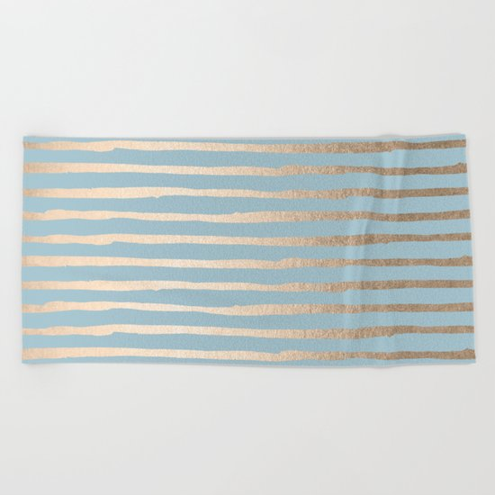 Abstract Stripes Gold Tropical Ocean Sea Blue Beach Towel