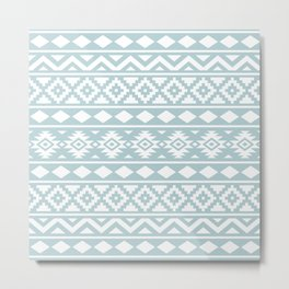 Aztec Essence Ptn III White on Duck Egg Blue Metal Print