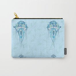 Jellyfish and Beta Fish in a Cyan Seaweed Sea Carry-All Pouch