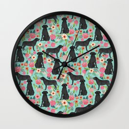 Labrador Retriever black lab floral dog breed gifts pet patterns florals black labs Wall Clock